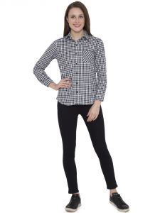 Hive91 Black Check Shirts For Women, Cotton Casual Shirt (code - Rh100sshbl)