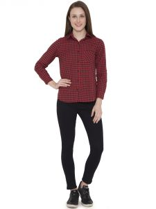 Hive91 Red Check Shirts For Women, Cotton Casual Shirt (code - Rh101sshrd)