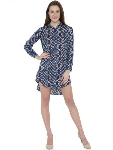 Hive91 Blue Long Shirt For Women, Printed Design With Full  Sleeve, In Rayon Fabric ( Code - RH104SHBU)