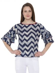 Hive91 Blue Ruffled Top Abstract Print Design Party Tops For Women(code -rh105tpbu)