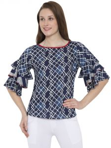 Hive91 Ruffled Top Blue Abstract Print Design Party Tops For Women(code - Rh106tpbu)