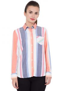 Hive91 Casual Shirts For Women, Rayon Fabric And Multi Color With Foldup Sleeve (code - Rh113sshmc)