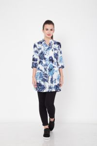 Hive91 Blue Floral Tunic With 3/4 Sleeve In Rayon Fabric(Code - RH114TUBU)