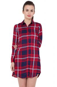 Hive91 Red Checkered Long Shirts For Women, Rayon Fabric With Foldup Sleeve (code - Rh115shrb)