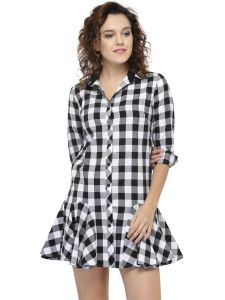 Hive91 Black Checkered Ruffled Dress, Cotton Casual Western Dress For Women (code - Rh80drbw)