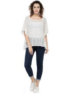 Hive91 Poncho Tops For Women, 3/4 Sleeve White Kaftan Tops (Code - RH81PNWH)