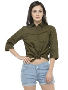 Hive91 Crop Shirt For Women Olive Green Color ( Code - RH84SHGR)