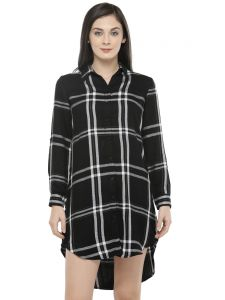 Hive91 Black Checkered Shirt Dress For Women (code - Rh86shbl)