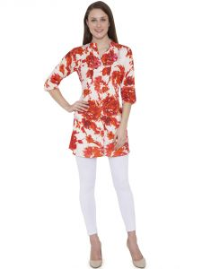 Hive91 Red (orange) Floral Tunic With 3/4 Sleeve In Rayon Fabric (code - Rh95tuor)