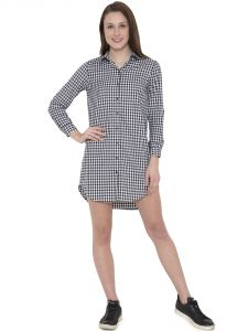 Hive91 Black And White Checkered Shirt Dress For Wome, Roll Up Sleeve, Made By Cotton Fabric