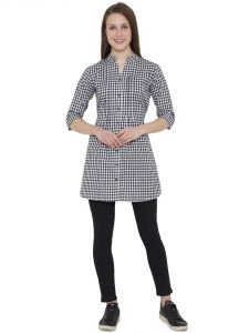 Hive91 Black Checkered Tunic For Women 3/4 Sleeve In Cotton Fabric (code - Rh98tuwh)