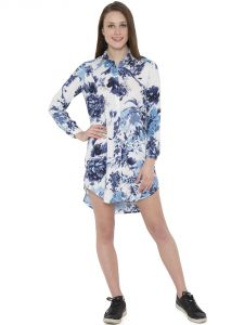 Hive91 Blue Floral Shirt Dress For Women , Roll Up Sleeve Made By Rayon