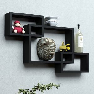 Woodworld Wooden Intersecting Storage Wall Shelves Rack 3 Black
