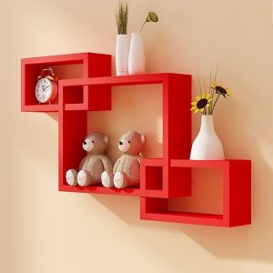 Woodworld Wooden Intersecting Storage Wall Shelves Rack 3 Red