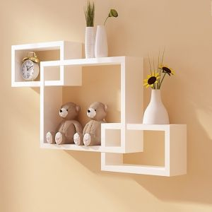 Home Utility Furniture - woodworld wooden Intersecting Storage Wall Shelves Rack 3 white
