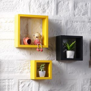 Woodworld Nesting Square Shelf Set Of 3 Shelves Black , Yellow