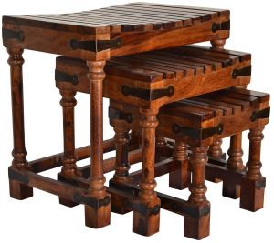 Living Room Furniture - Woodworld home decor Nesting Tables Sheesham Wood Set of 3 Brown Stools