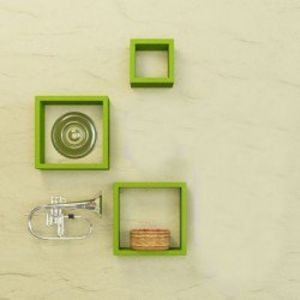 Woodworld Nesting Square Shelf Set Of 3 Shelves - Green