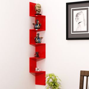 Woodworld Zigzag Corner Wall Mount Shelf Unit (red)