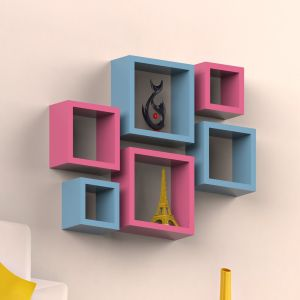 W Home Decor & Furnishing - Woodworld MDF Wall Shelves Nesting Square Shape Set of 6 Wall Racks Shelves pink, winter blue