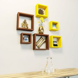 Woodworld Mdf Wall Shelves Nesting Square Shape Set Of 6 Wall Racks Shelves Yellow,brown