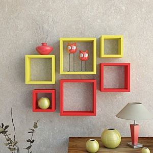 Woodworld Mdf Wall Shelves Nesting Square Shape Set Of 6 Wall Racks Shelves Yellow, Red