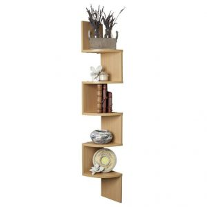 Woodworld Zigzag Corner Wall Mount Shelf Unit -1 Beige