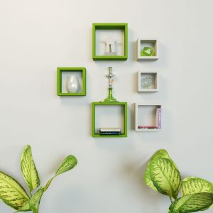 Woodworld Mdf Wall Shelves Nesting Square Shape Set Of 6 Wall Racks Shelves White, Green