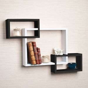 Woodworld Wooden Intersecting Storage Wall Shelves Rack 3 Black, White