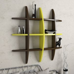 Woodworld Home Decor Globe Shape Brown And Yellow Wall Shelves Rack