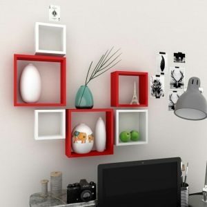 W Home Decor & Furnishing - Woodworld MDF Wall Shelves Nesting Square Shape Set of 6 Wall Racks Shelves white, red