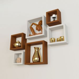 Woodworld Mdf Wall Shelves Nesting Square Shape Set Of 6 Wall Racks Shelves Brown,white