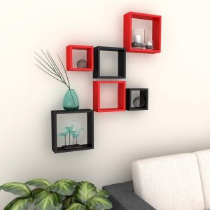 Woodworld Mdf Wall Shelves Nesting Square Shape Set Of 6 Wall Racks Shelves Black, Red