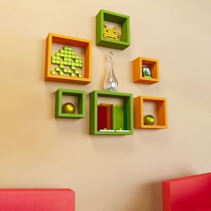 Woodworld Mdf Wall Shelves Nesting Square Shape Set Of 6 Wall Racks Shelves Orange, Green