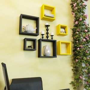 Woodworld Mdf Wall Shelves Nesting Square Shape Set Of 6 Wall Racks Shelves Yellow,black