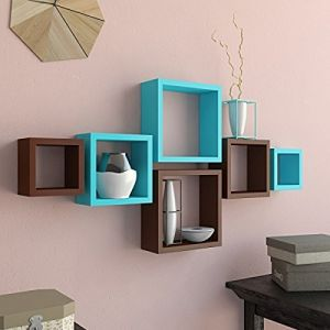Woodworld Mdf Wall Shelves Nesting Square Shape Set Of 6 Wall Racks Shelves Brown , Blue