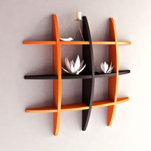 Woodworld Home Decor Globe Shape Orange And Brown Shape Wall Shelves Rack