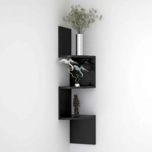 Woodworld Wall Mount Zig Zig Shelf Coner Unit - Black