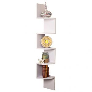 Woodworld Wood Zigzag Corner Wall Mount Shelf Unit- White