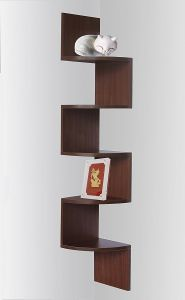 Home Utility Furniture - woodworld wall mount zig zig shelf coner unit - brown