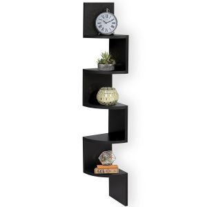 Woodworld Wood Zigzag Corner Wall Mount Shelf Unit- Black