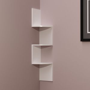 Woodworld Home Deco Wall Shelf Zig Zig Rack Unit - White