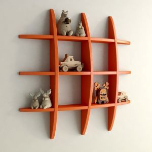 Woodworld Home Decor Globe Shape Orange Wall Shelves Rack