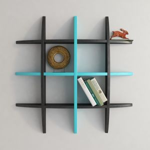 Woodworld Home Decore Globe Shape Floating Black And Blue Wall Shelves Rack