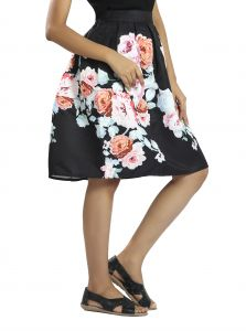 Snob Bee Printed Black Multi Skirt (code - 11181d162igh_blackmulti)