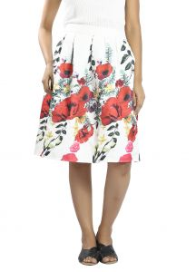 Snob Bee Printed White Multi Skirt (code - 11181d162igh_whitemulti)