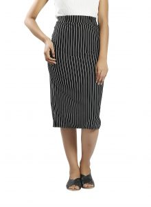 Snob Bee Stripe Up Black Midi Skirt (code - 11181d69igh_black)