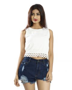Snob Bee White Detailed Hem Top (code - 11251d121igh_white)
