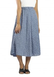 Snob Bee Floral Midi Blue Skirt ( Code - 13571d73igh_blue)