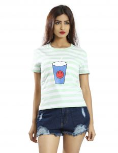 Snob Bee Light Blue Stripes Graphic Tee (code - 15041d108igh_lightblue)